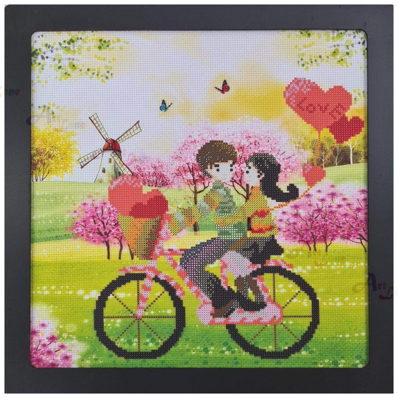 Cross Stitch – Young Couple on Bicycle