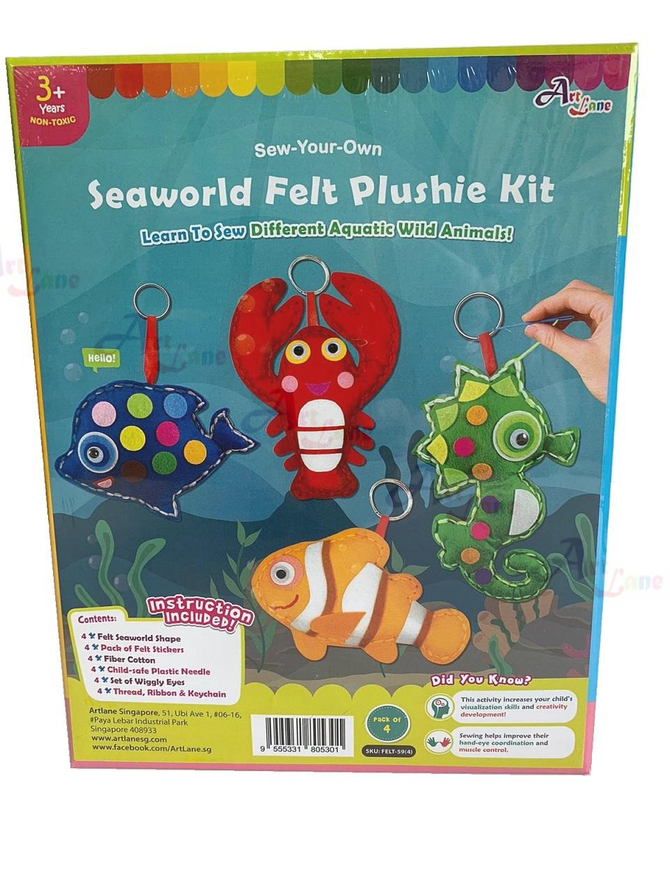 Felt-Seaworld-Plushie-Kit-Pack-of-4-Design with watermark