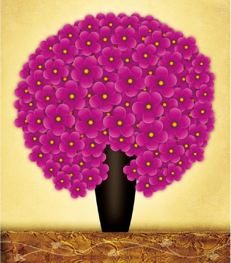 1043花团锦簇玫红 42X45