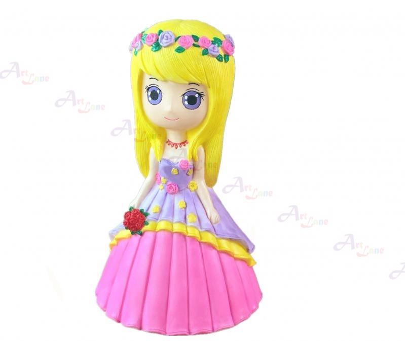 Coin Bank – Yellow Hair Girl With Garland with watermark